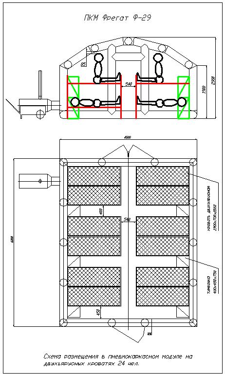 Схема размещения на двухъярусных кроватях 24 чел. ПКМ Ф-29 (выставка)